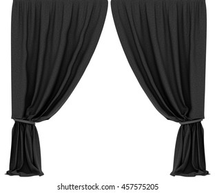 Black curtains isolated on white background. Include clipping path. 3d render