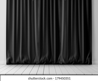 Black curtains and white wood floor
