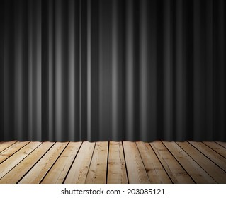 black curtains and wooden floor