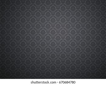Black damask wallpaper with floral patterns
