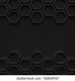 black dark hexagon background modern future concept pattern beehive wire mesh 3d render.