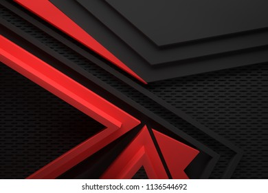 black dark and red abstract graphic shape background 3d illustration origami paper pattern.