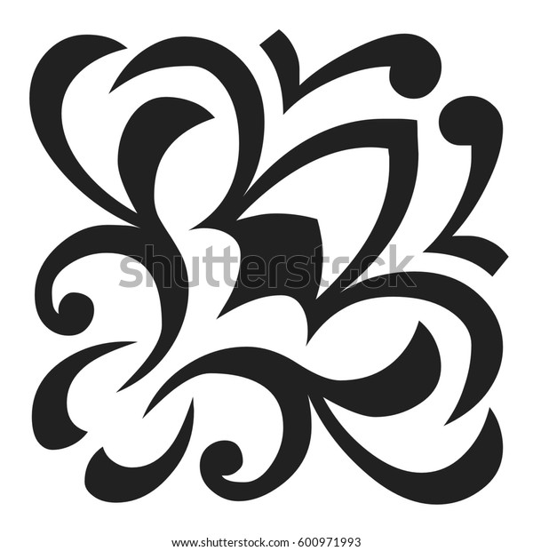 black decorative elements and ornaments isolated on a white background. 3D rendering.