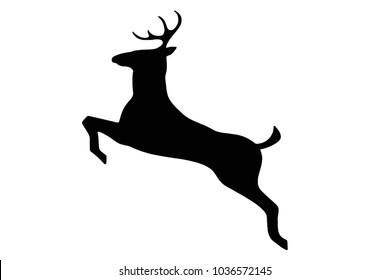 A black deer leaping silhouette