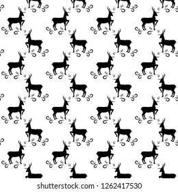 Black deer seamless pattern. Fashion graphic background design. Modern stylish abstract texture. Monochrome template for prints, textiles, wrapping, wallpaper. illustration