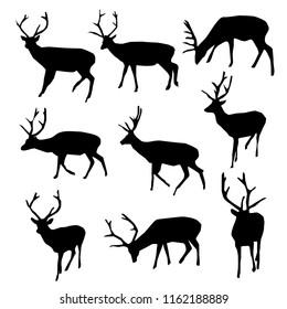 black deer silhouettes, raster image