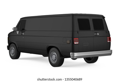 Black Delivery Van Isolated. 3D rendering