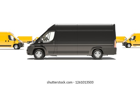 Black Delivery Van with Yellow Ones in the Background 3D Rendering