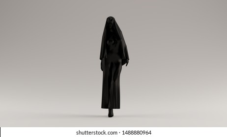 Black Demon Nun in a Black Pant Suit with a Veil Futuristic Haute Couture Dress Abstract Demon Evil Spirit Front View 3d illustration 3d render