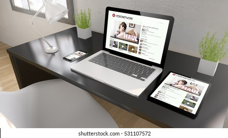 Black desktop with tablet, laptop and smartphone showing video network on screen. 3d rendering.