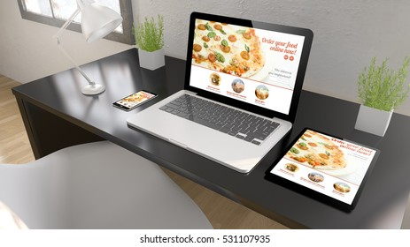 Black desktop with tablet, laptop and smartphone showing order food online on screen. 3d rendering.