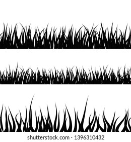 Black detailed grass silhouette, seamless borders isolated on white