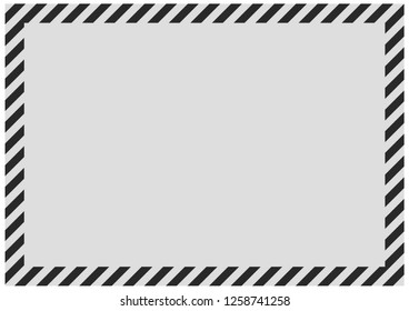 Black diagonal bands along the perimeter of the sheet with gray background. Empty form for message, envelope or banner.