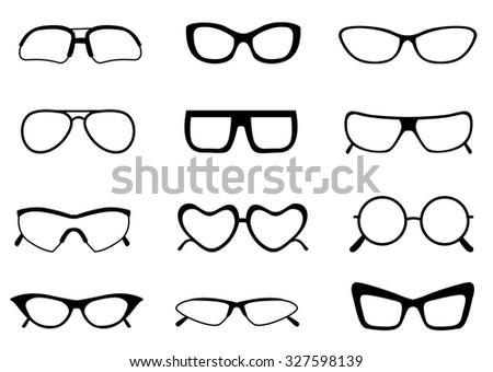 Black Different Shaped Spectacle Glasses Frame Stock Illustration ...