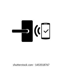 Black Digital door lock with wireless technology for unlock icon isolated. Door handle sign. Security smart home of concept