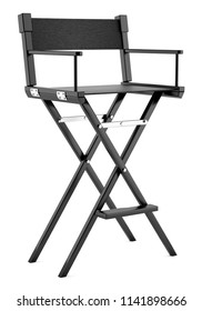 black director`s chair isolated on white background. 3d illustration