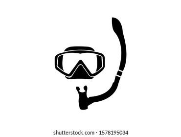 black diving mask icon on white