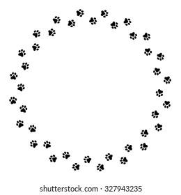 Black dog paw prints circlel frame / border