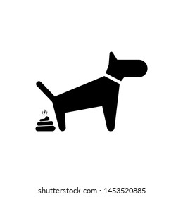 Black Dog pooping icon isolated. Dog goes to the toilet. Dog defecates. The concept of place for walking pets