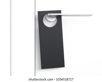Black door hanger tag on silver handle. 3d rendering