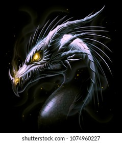 Black dragon head on the black background. Digital painting.