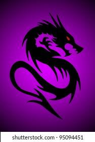 black dragon on purple background