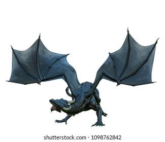 black dragon in a white background 3d illustration