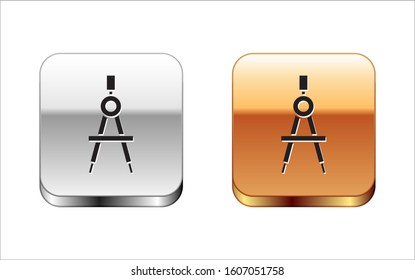 Black Drawing compass icon isolated on white background. Compasses sign. Drawing and educational tools. Geometric instrument. Silver-gold square button.