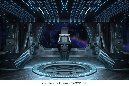Black Eagle. Spaceship interior. 3D illustration.