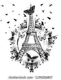 Black eiffel tower with around butterflies, birds and shapes. JPEG format.