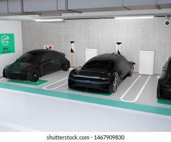 Black electric cars charging in charging station locate in underground  parking lot. 3D rendering image.