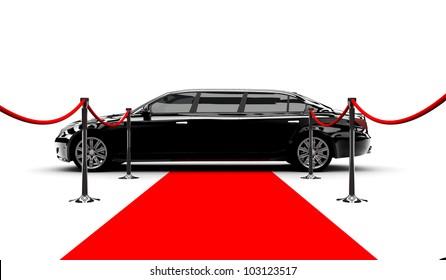 A black elegant car with a red carpet