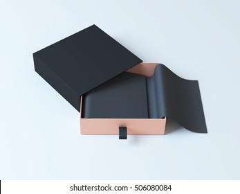 Black elegant gift packaging box 3d rendering