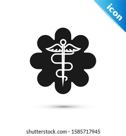 Black Emergency star - medical symbol Caduceus snake with stick icon isolated on white background. Star of Life.
