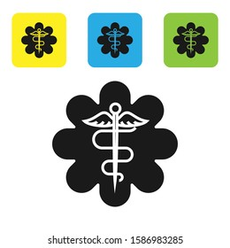 Black Emergency star - medical symbol Caduceus snake with stick icon isolated on white background. Star of Life. Set icons colorful square buttons.