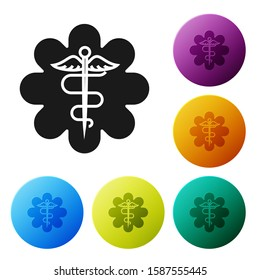 Black Emergency star - medical symbol Caduceus snake with stick icon isolated on white background. Star of Life. Set icons colorful circle buttons.