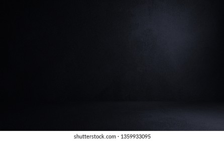 Black, empty, dark cement product  showcase. 3D rendered background.