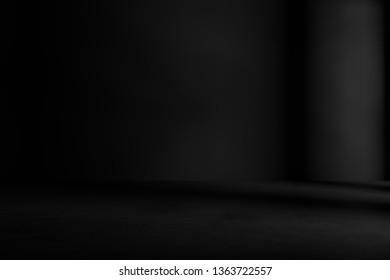 Black, empty, dark cement room. 3D   rendering background.
