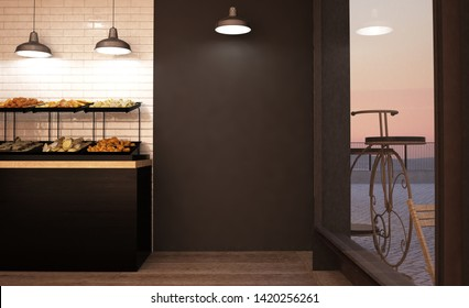 black empty wall mockup at bakery 3d rendering