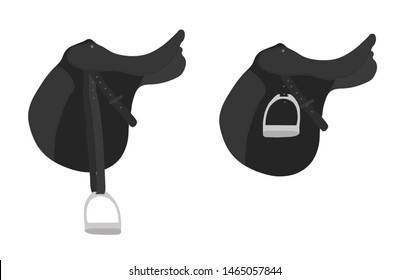 Black english saddle cartoon illustration.