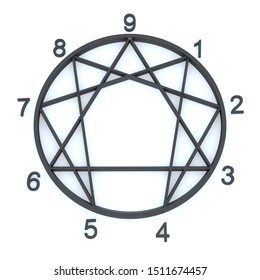 Black Enneagram - Numbers 1 to 9 and White Background 3D Rendering