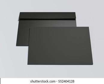 Black envelope with blank paper sheet on white floor. 3d rendering