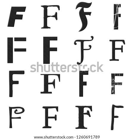Black Etched Metal Letter F Set Stock Illustration 1260691789