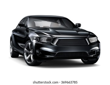 Black executive car - 3D render on white