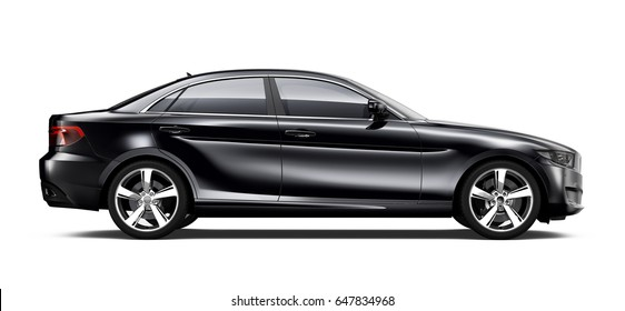Black executive car side view - 3D render