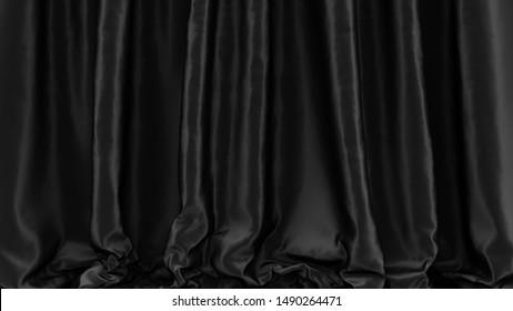 Black fabric. Dark drapery. Black stage silk curtain. Beautiful horizontal background. High resolution.