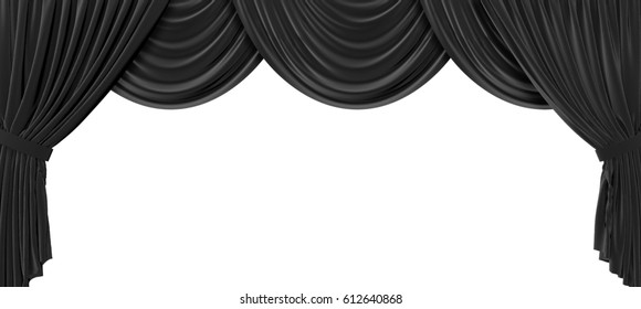 Black fabric theatre curtains on a plain white background. 3D Rendering