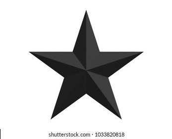 black faceted star with 10 sides isolated on a white background 3d rendering