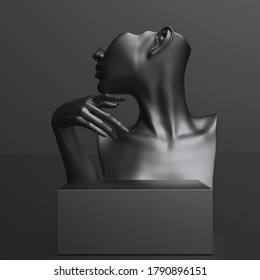 Black female mannequin bust and hand product display background for jewelry, women fashion accessories and cosmetics. 3d rendering