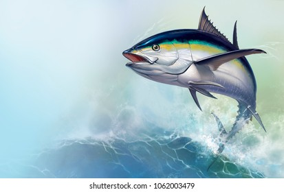 Black fin tuna jumps out of the sea. Realistic illustration of a big fish on the background of large sea waves.